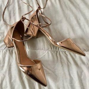RAID / ASOS Rose Gold Ankle Tie Up Block Heels